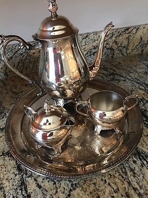 FB Rogers Silver Co 1883 Tea Pot Coffee Set Sugar Creamer With Lids Early 1900's