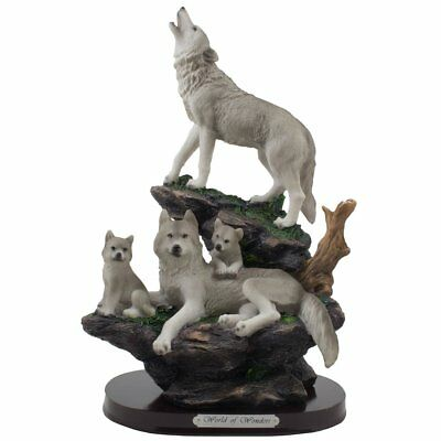 Howling Wolf and Family on a Rock Statue for Decorative Lodge and Rustic Cabin