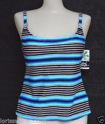 Island Escape Size 8 Black Striped Push-Up Add-A-Size Tankini Swimsuit Top NWT