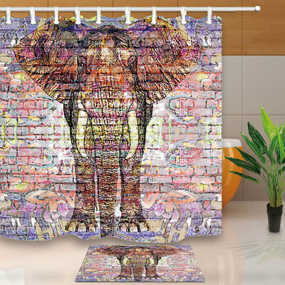 Elephant Painted On Brick Wall Bathroom Shower Curtain Set Fabric & 12 Hook 71""