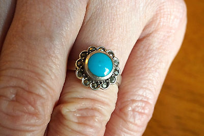 Vintage Sterling Silver Ring 925 Marcasite Turquoise Size 7.5