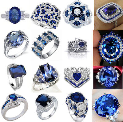 New 925 Sterling Silver Sapphire Gemstone Ring Wedding Women Men Date Party Lot