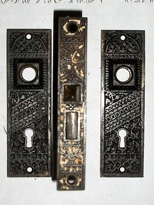 Antique Eastlake Interior Lock with Matching Door Knob Backplates