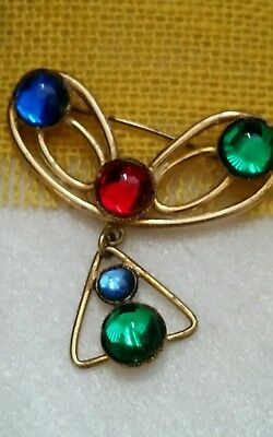 Vintage Unique Art Deco Polished Lucite Cabs  Brass Dangle Pin Brooch