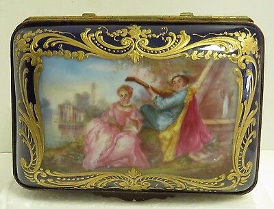 Antique 1890/1900's French Sevres Signed Hand Painted Porcelain Jewelry Box.