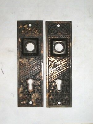 Antique Eastlake Door Knob Backplate Pair With Gothic Cathedral style Motif