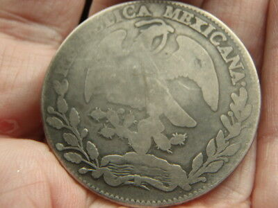 Mexico 1861 SILVER FIRST REPUBLIC 8 Reales CIRCULATED OVER 100 YEARS OLD 25.7GR