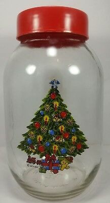 Vintage Glass Jar Christmas Tree Red Lid Holiday Candy Action Carlton Glass 3L