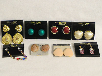 Vintage Unused Mixed Clip-On Earring Lot Enamel Lucite Madame Angelo + More