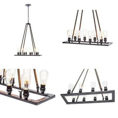 8-Light Vintage Chandelier With Rope Wrapped Hangers, Oil Rubbed Bronze Finish,