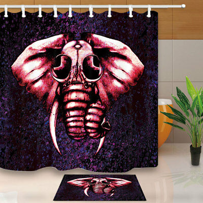 Oil Painting Elephant Head Polyester Shower Curtain Set Fabric & Hooks 71Inches