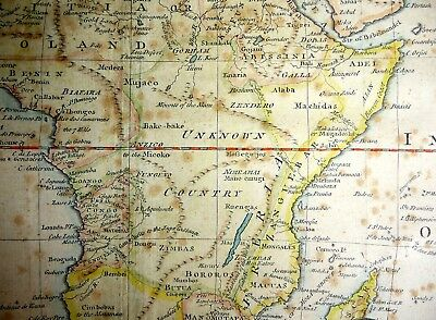 ANTIQUE ENGRAVED MAP AFRICA NEGROLAND UNKOWN COUNTRY Thos Bowen BARBARY OLD