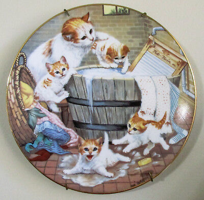 Hamilton Collection Vintage Country Kitties Plate All Washed Up 1988 Porcelain