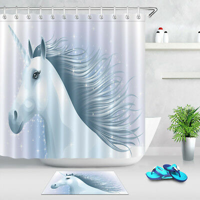 White Unicorn Bathroom Fabric 72x72 Shower Curtain 12 Hooks Set Or Bath Mat New