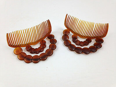 Vintage Pair Hair Combs Faux Tortoise Shell Ornate Plastic Goody Made in U.S.A.