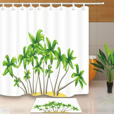 Tropical Green Banana Leaves Tree Shower Curtain Set Fabric & 12 Hook 71X71 Inch
