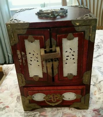 """Antique Chinese Wood & Brass Jewelry Chest with lock & 8 Carved Jade Panels 9.5"""""""
