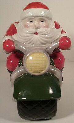 Santa Biker On a Motorcycle Toys Bag Lg Ceramic Cookie Jar Vintage 1998 Clay Art
