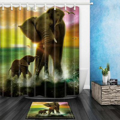 Elephant Mother And Son In Water Bathroom Shower Curtain Set Fabric & Hook 71""