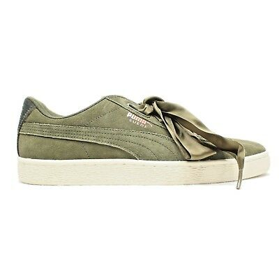 PUMA Suede Heart Velvet Rope Womens Sz 11 Olive Green Rose Gold (365111-01 3af565486