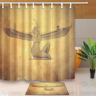 Ancient Egyptian Beauty Girl with Wing Bathroom ShowerCurtainFabric&12Hook