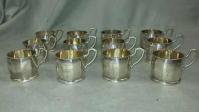 12 ARTS & CRAFTS Coin Silver .800 Hand Hammered Punch Cups European Hallmark