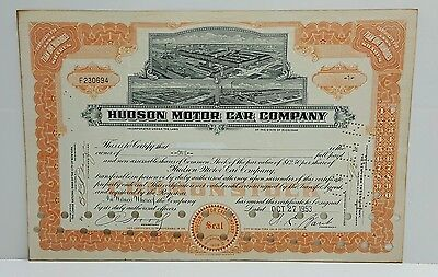 Hudson Motor Car Co Stock Cert, Vignette Three Top: Image of 3 Great Factories