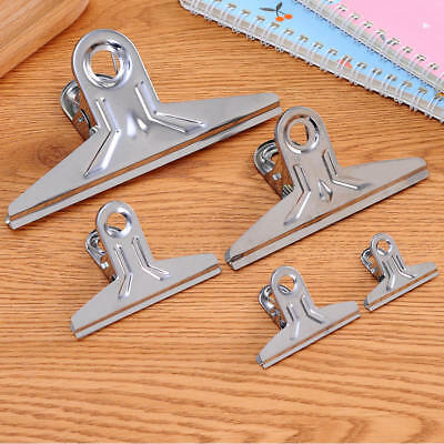 Stainless Steel Silver Office Metal Ticket Binder Stationary Paper Clips Clamps