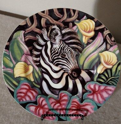 """Fitz & Floyd Exotic Jungle Zebra Salad Plate - 9.25"""" - Brightly Colored"""