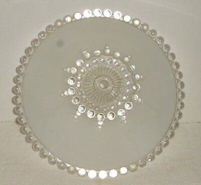 "Vintage Glass Ceiling Lamp Shade Art Deco Frosted White 11-1/4"" Dia Center Hole"