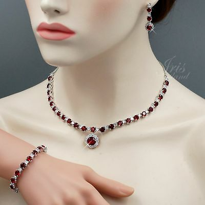 White Gold Plated Red Cubic Zirconia Necklace Bracelet Earrings Jewelry Set 7501