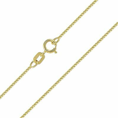 "14K Solid Yellow Gold Box Necklace Chain 0.5mm 16-22"" - Polished Link Women Men"
