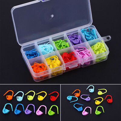 100Pcs Locking Stitch Markers-Plastic Lock Ring -Multi Colors-Without Container