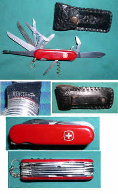 WENGER CHAMP SIX LAYER SWISS ARMY KNIFE w LEATHER SHEATH multi-function/tool