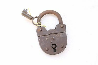 Antique Old Iron Hand Carved 2 Touren Lock & Key Working Made In Germany NH3372