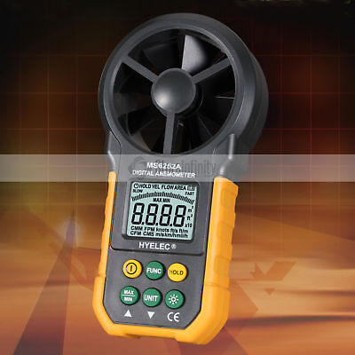 LCD Digital Anemometer Wind Speed Meter Air Flow Tester Backlight HYELEC MS6252A