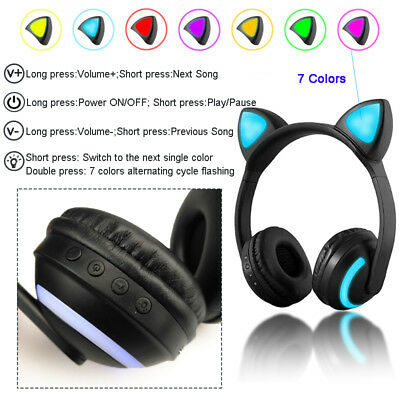 Cat Ear LED Wireless Bluetooth Foldable Headset Stereo Headphone Earphone