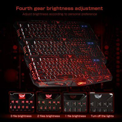 Gaming Tastatur USB verdrahtete LED 3 Farben Blau/Rot/Purpur Backlit DE