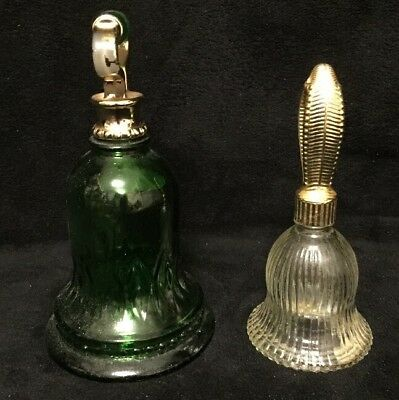 Lot Of 2- VINTAGE AVON EMPTY COLLECTIBLE GLASS DECANTER BELLS Green & Clear