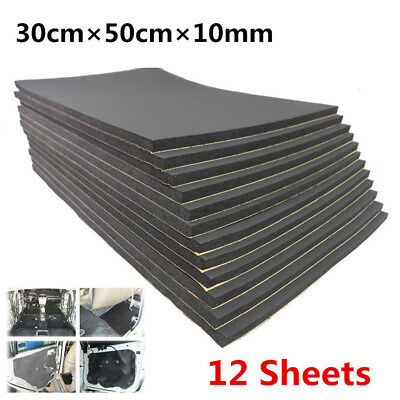 12 Sheets Car SUV Van Sound Proofing Insulation 10mm Closed Cell Foam 30cm×50cm