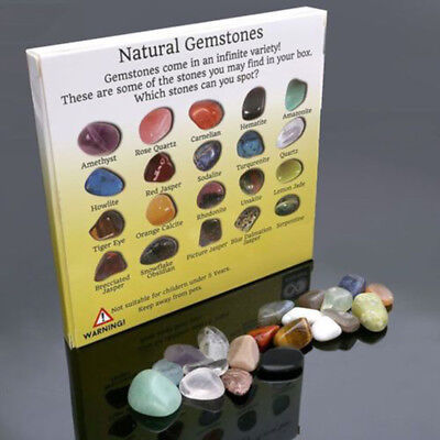 20pcs Crystal Gemstone Reiki Polished Healing Chakra Stone Collection Set New