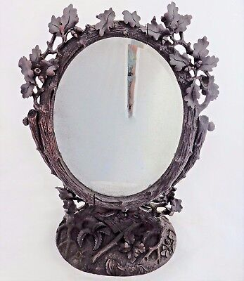 Antique Black Forest Carved Wooden Oval Vanity Mirror Stand Swiss Brienz 19th C