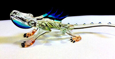 CHAMELEON HAND BLOWN GLASS ANIMAL FIGURINE MINIATURE COLLECTIBLE GIFT DECOR blue
