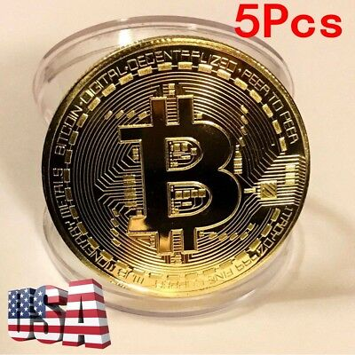 USA BITCOIN!! Gold Plated Physical Bitcoin In Protective Acrylic Case 5pcs