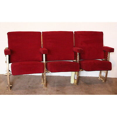 A Row of 3 Vintage C1930s Art Deco Cinema Theatre Seats Very Quirky & Comfy