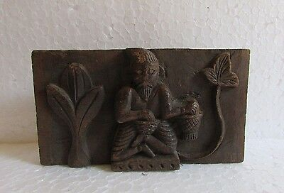 Vintage Old Wooden Hand Carved Wall Panel Collectible Home Decor