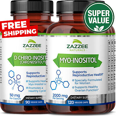 PCOS Support 3-Month Supply 4 Bottles Myo-Inositol & D-Chiro-Inositol 40:1 Ratio