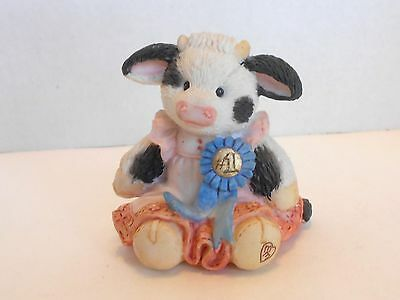 Enesco Mary's Moo Moos # 628859 Cream Of Crop Blue Ribbon Cow Country Fair 1993
