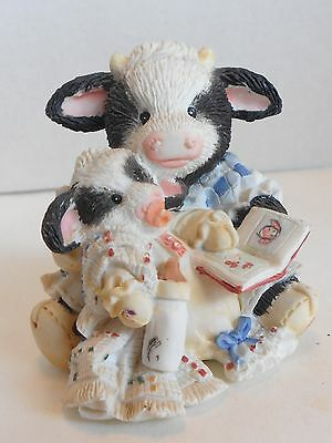 Enesco Mary's Moo Moos, PASTURE BEDTIME, Cowgirl Reading To Baby Cow 627763
