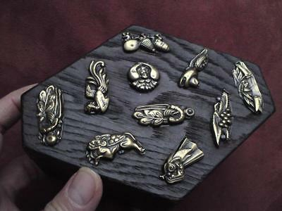Antique Japanese wood coffin box repousse brass motif symbols Kasa-obake ghost